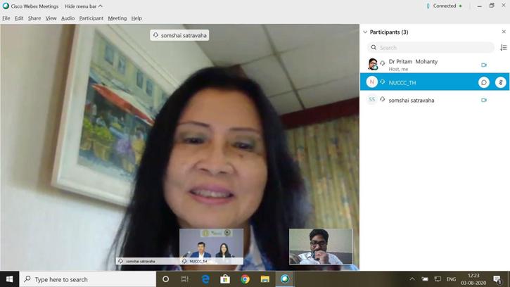 """ผอ.สถานฯ พร้อมทีม ร่วมเป็นวิทยากร ในการประชุม """" International Inter-University webinar กับ School of dental science"""" แห่งมหาวิทยาลัย Kalinga Institute of Industrial Technology ประเทศอินเดีย"""